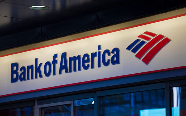 Bank of America signage and logo pictured on its building in