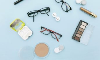 eyeglasses and contact lenses and make up